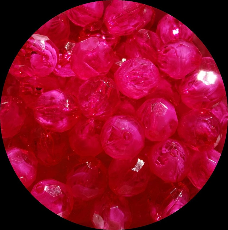 20mm Hot Pink Faceted Chunky Bubblegum Beads Set of 10   D2
