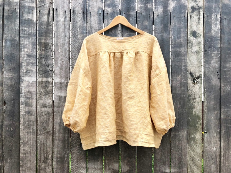 efc9028555 Pale Mustard Linen Cotton Marta Blouse with Front and Back