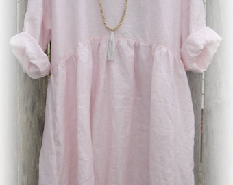 Pale Pink Linen Dress, one size fits most, natural fabric, long sleeves, also avail in smaller sizes.
