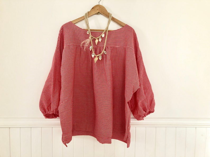 Red Gingham Marta Blouse in Natural Cotton free size one size fits most plus size