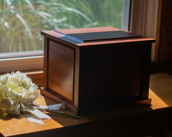 Sepele Mahogany Companion Urn | Couples Urn | Divided Urn | Personalized Urn | Cremation Box | Urn For Two | Double Urn