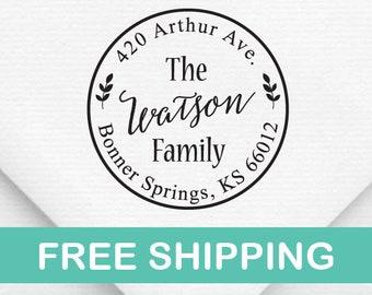 Custom Family Address Stamp, The Watson Design Address Stamp, Self-Inking Return Address Stamps, Housewarming Gift Stamp, Round Stamp