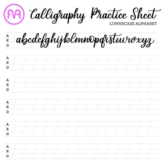 Calligraphy Practice Sheets Lowercase Alphabet Lettering Etsy