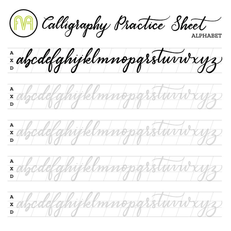 image relating to Printable Calligraphy Practice Sheets identify Calligraphy Prepare Sheets Alphabet Lettering Electronic Obtain  Printable
