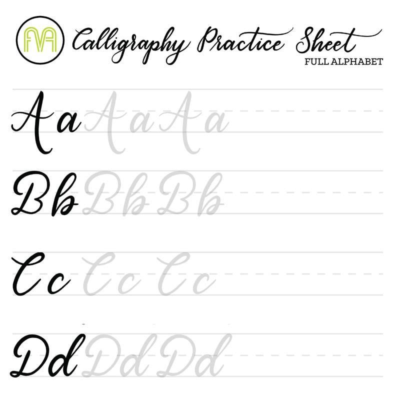 Calligraphy Practice Sheets | Full Alphabet | Lettering | Digital Download  | Printable