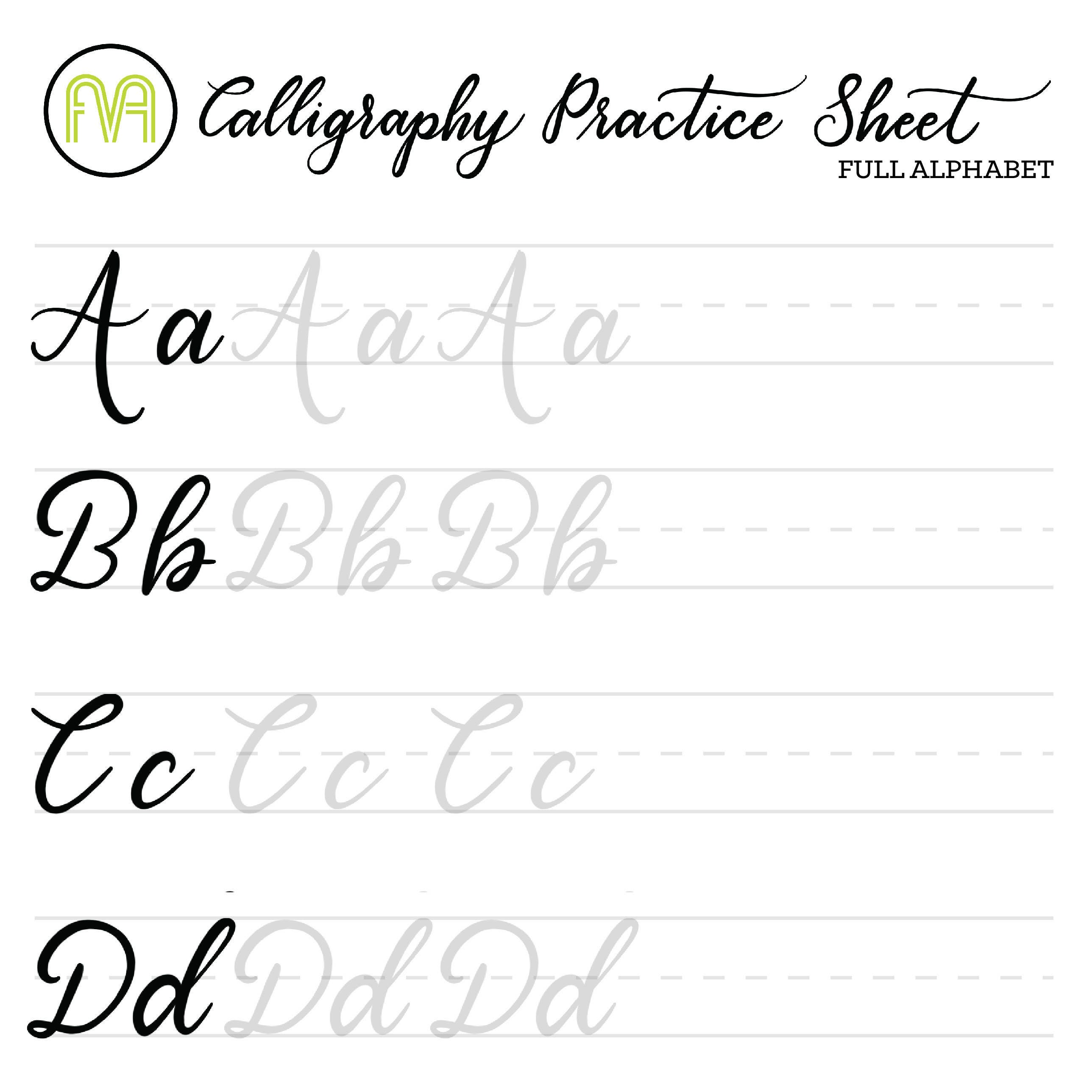 image regarding Printable Calligraphy Practice Sheets named Calligraphy Educate Sheets Finish Alphabet Lettering Electronic Down load  Printable