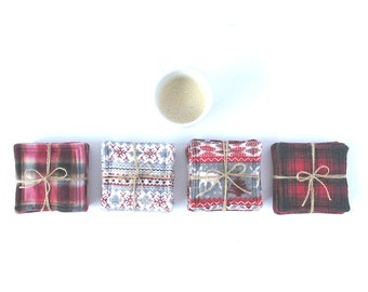 White, Gray and Red colors coasters, Hostess Gift, woman gift, fashionnista, decor lovers
