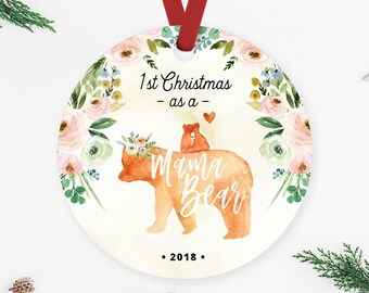 mama bear christmas ornament mama bear gift floral ornament new mom ornament first time mom gift ornament for wife gift for mom