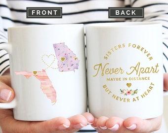 Sister Moving Mug, Mug for Sister Moving, Long Distance Sister Mug, State to State Mug, Moving Away Gift, Together Forever Mug, Sister Gift