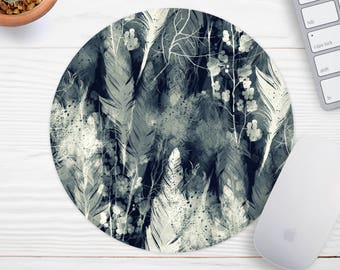 Feather Mousepad, Mouse Mat, Desk Accessories, Chic Mousepad, Modern Mouse Pad, Personalized Mouse Pad Round Mousepad, Forest Mouse Pad