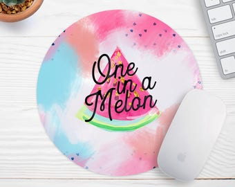 One in a melon,  Mouse Pad, Girly Mouse Pad, Cubicle Decor, Office Desk Accessories, New Job Gift, Office Supplies, Watermelon mousepad