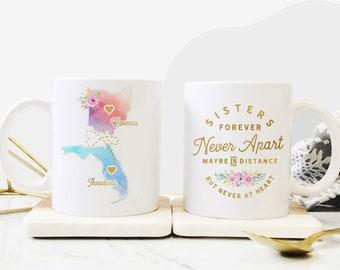 Sister Moving Mugs, Sister Moving Gift, Sister Moving Away Mug, Long Distance Sisters Mug, Long Distance Sister Gifts, Moving Away Mug