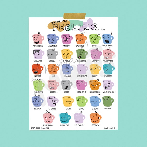 image about Feelings Chart Printable titled vibrant mugs view chart magazine printable