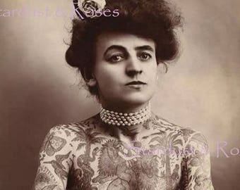 ANTIQUE PhoTo TaTTooeD Lady - INSTANT DIGITAL Download - Vintage Circus Photo Junk Journal Beautiful Woman Scrapbooking Art To Frame no1753
