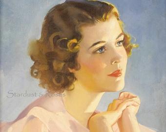 BEAUTIFUL WOMAN DOWNLOAD Vintage 1930s ArT Print - Instant Digital Antique ARt - Frameable Lady Junk Journal Altered Art to Frame no1531