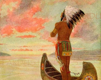 ANTIQUE Native American Art Print DOWNLOAD Man CAve ArT - Instant DIGITAL Art - Frameable Hiawatha Journaling Altered Art to Frame no1367