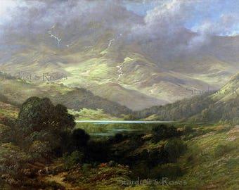 ANTIQUE Art Print Scotland Highlands - INSTANT Digital DOWNLOAD - 1800s Landscape Vintage Painting Journal Altered Art Frame Crafts no4959