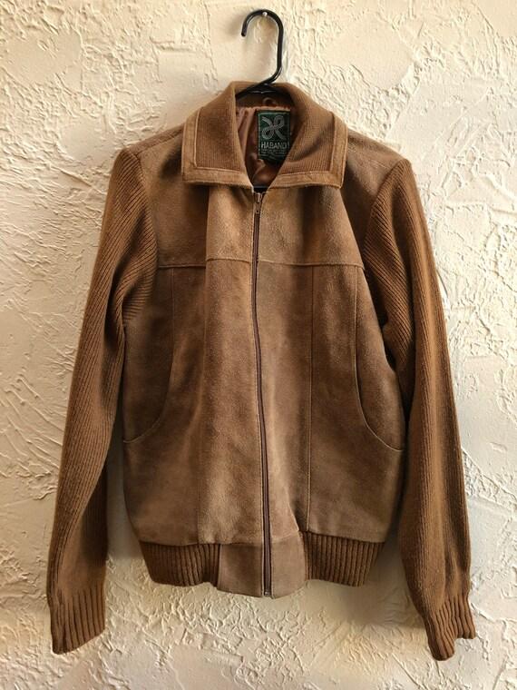 Vintage Haband Genuine Leather Sweater Jacket