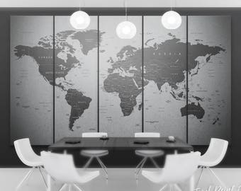 Dark gray world map decor black and gray map print 3 panel grey world map canvas gray world map wall art travel map of the world gumiabroncs Gallery