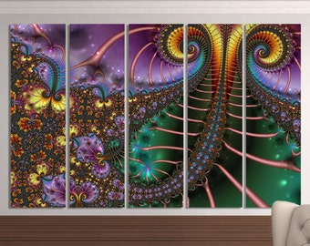 Large colorful fractal wall art, multipanel fractal psychedelic art print, trippy fractal art, canvas fractal, contemporary art