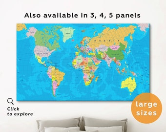 Map Of The World Detailed.Detailed World Map Etsy