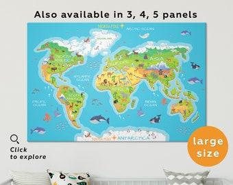 World map for kids | Etsy