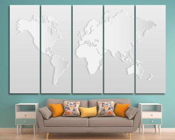 Light grey world map print canvas panels modern silver world gumiabroncs Gallery