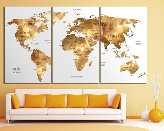 Gold world map wall art Large gold world map print Gold wall