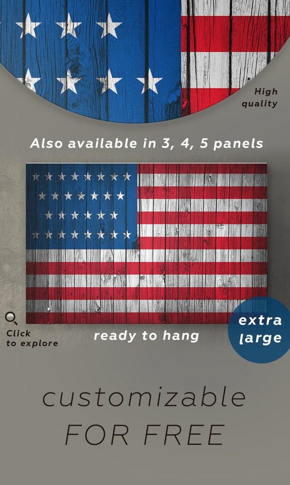 American flag wall art wood canvas Wooden American flag wall | Etsy