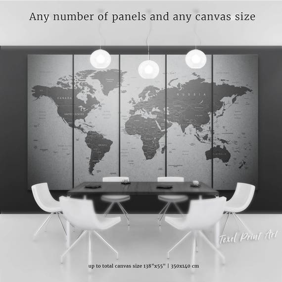 Grey World Map Canvas Gray World Map Wall Art Travel Map Of Etsy - Grey world map canvas