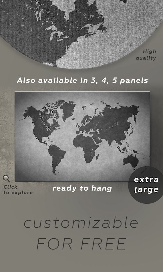 Dark Gray World Map Decor Black And Gray Map Print Panel Etsy - How to hang a large map