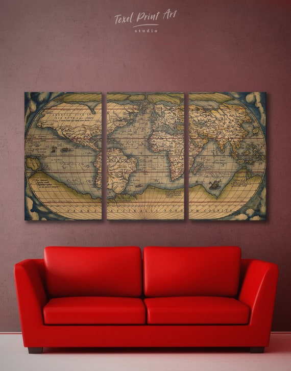Vintage World Map Wall Art 3 Panel Wall Art 4 Piece Wall Art Etsy