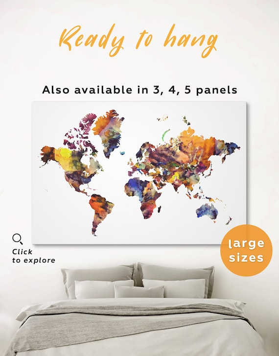 Watercolor World Map Colorful World Map Panel Watercolor Map Of The World 3 Panel Abstract Wall Art Modern Map Of The World Artistic Map