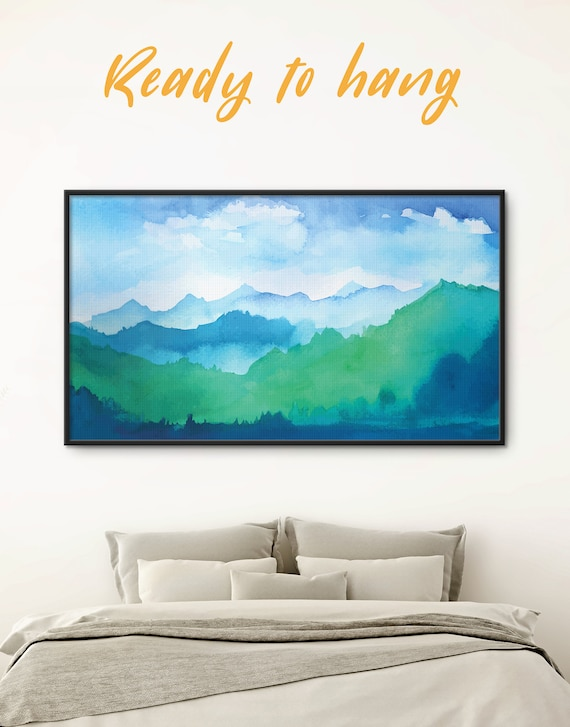 Watercolor Mountains Framed Canvas Art Abstract Mountains Framed Print Bedroom Art Ombre Mountain Art Mountain Range Framed Landscape Art