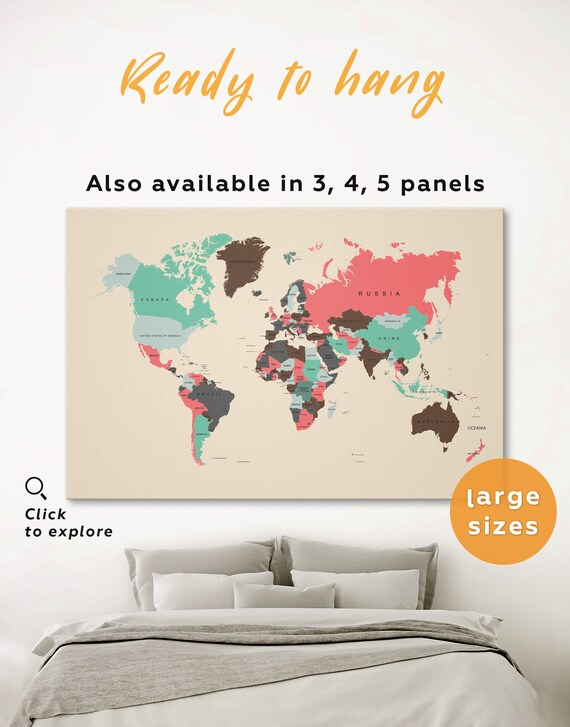 Large Map With Countries Political Wall Map With Borders Etsy