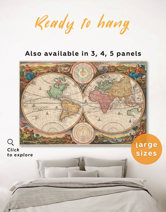 World Map Old Style.Antique Wall Map Old Style World Map Wall Art 3 Panels Set 4 Etsy