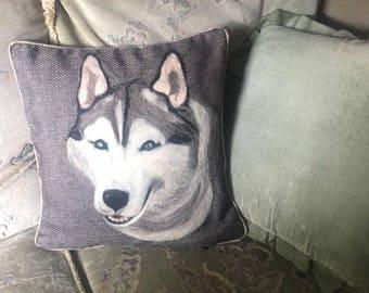 cushion handmade a husky