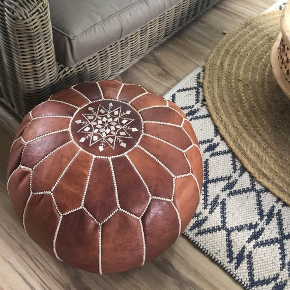 SALE STUFFED Moroccan Leather Pouf Ottoman With Top Etsy Awesome Poufs On Sale