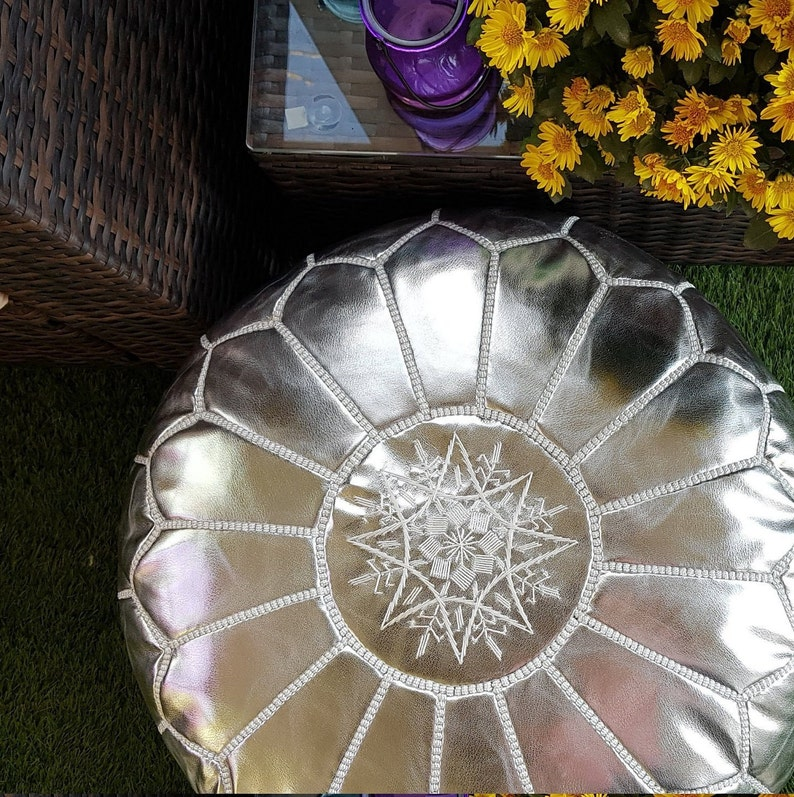 SALE ** STUFFED Moroccan Faux Leather pouf ottoman with top embroidery in Silver