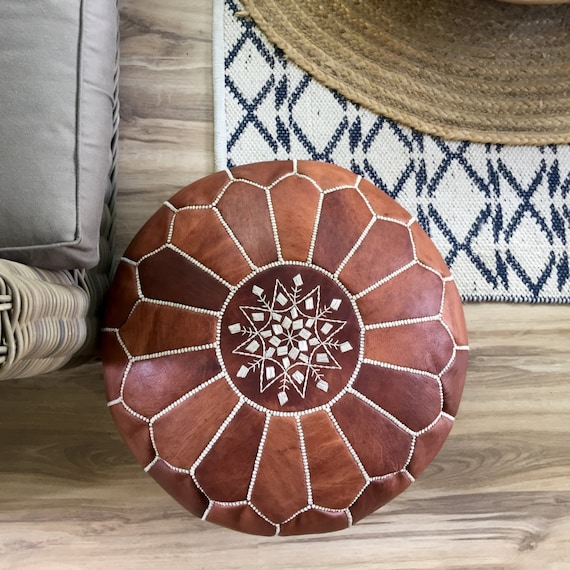 SALE STUFFED Moroccan Leather Pouf Ottoman With Top Etsy Delectable How To Stuff A Moroccan Pouf