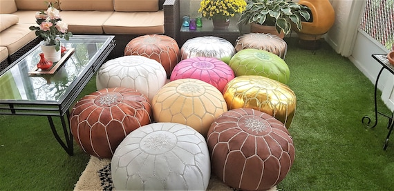 Wondrous Pre Stuffed Moroccan Leather Pouf Ottoman With Top Embroidery Available In Many Colors Short Links Chair Design For Home Short Linksinfo