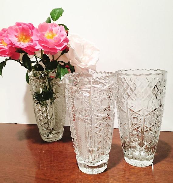 Glass Vase Bud Vase Cut Crystal Vase Vintage Crystal Etsy