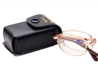 Compact Fold Up Folding Rimmed Foldable Reading Glasses w/Case Black Snap Case FAST SHIP CA