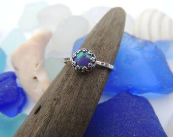 Sterling Silver Ring with Purple Fiery Opal