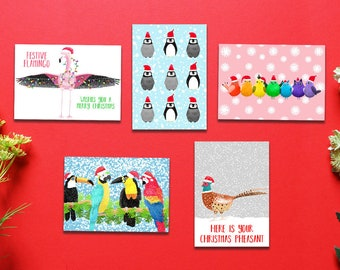 Birds Christmas Card Pack, Set Of 5, Bundle Pack, Christmas Cards, Animal Christmas Cards, Card Pack, Bird Christmas Cards