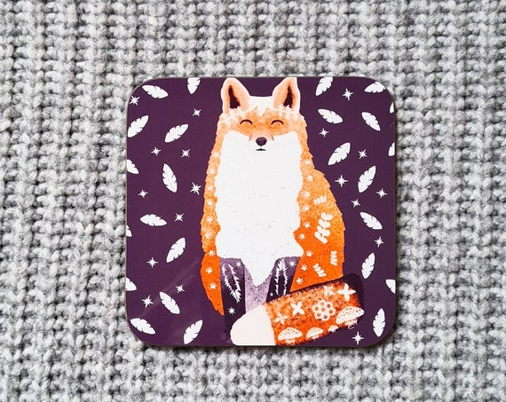 Fox & Leaves Coaster, Coaster, Drinks Coaster, Gifts for him, Gifts for her, Birthday Present, House Warming Present, Animal Coasters, Fox