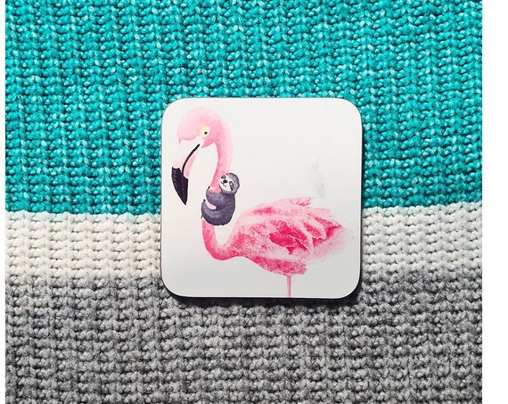 Flamingo and Sloth Coaster, Defects, as is, defect, reduced price