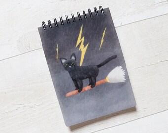Cat On Broomstick A6 Notebook, Plain Notebook, Spiral A6 Notebook, Animal Notebook