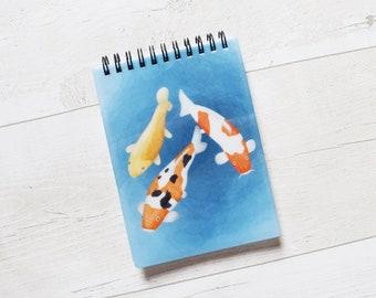 Koi Fish A6 Notebook, Plain Notebook, Spiral A6 Notebook, Animal Notebook