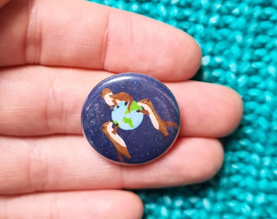 Otters 1 inch Button Badge, Pin Badge, Badge, Button Badge, Otter, Otter Pin badge, Otter Badge, Otter Button Badge